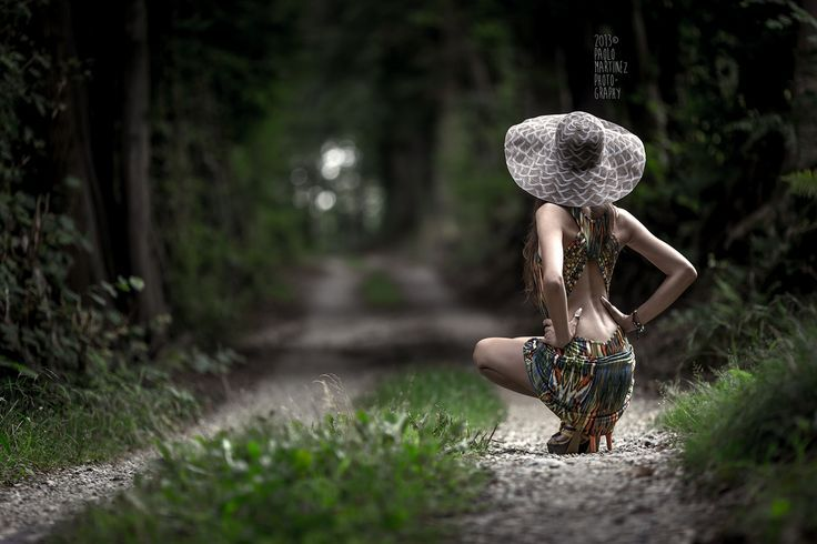 sensual girl with hat on country road | by Paolo Martinez