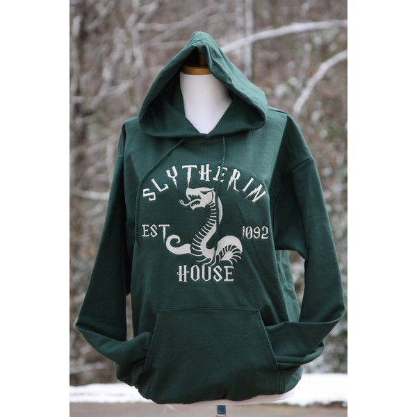 Slytherin Hoodie, Harry Potter Inspired Hoodie, Slytherin House ($36) ❤ liked on Polyvore featuring tops, hoodies, green hoodies, green hooded sweatshirt, sweatshirt hoodies, green top and hooded pullover