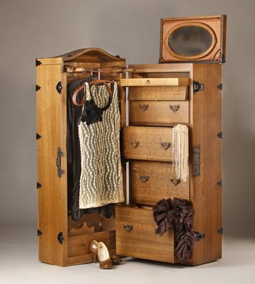 This wardrobe travel trunk is of 1840's vintage.