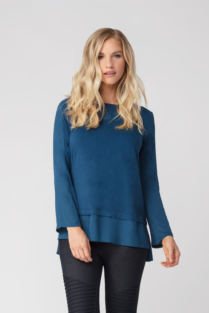Womens Organic Bamboo Viscose Tops in deep ocean - LNBF Sustainable Clothing Designed in Canada