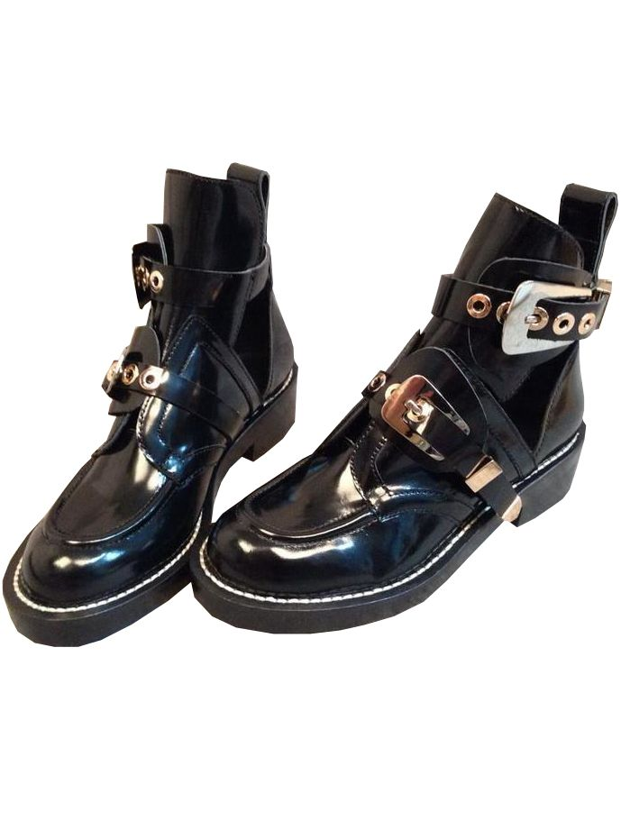 Black Patent Leather Motorcycle #Boots - #Sheinside