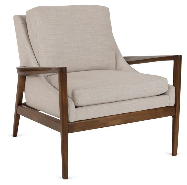 Ebonwood Exposed Frame Chair, Beige