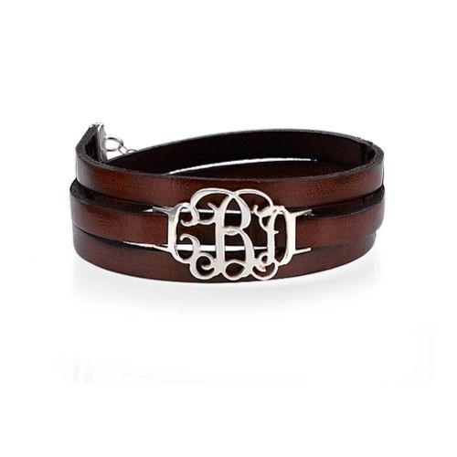 Leather Wrap Monogram Bracelet
