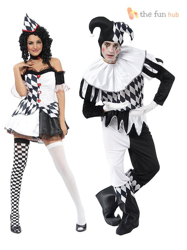 Harlequin Jester Clown Circus Costume Medieval Adult Mens Ladies Fancy Dress