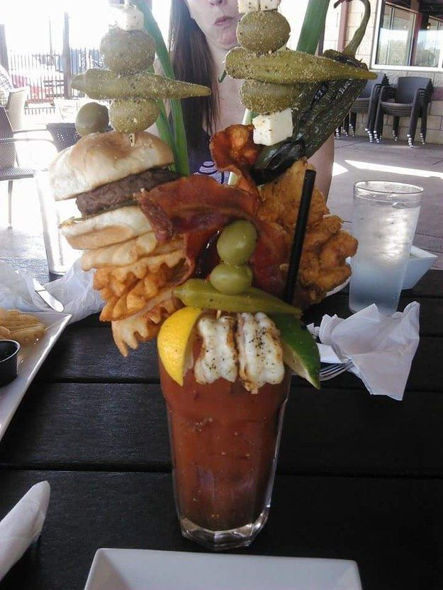 But this week, Redditor goodboyBill posted this image of a Bloody Mary that has gone off the actual deep end. | Here Is The World's Most Insane Bloody Mary