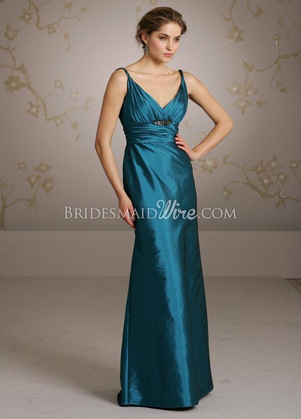 """'peacock taffeta v neckline floor length bridesmaids dress with twisted shoulder straps"""""""