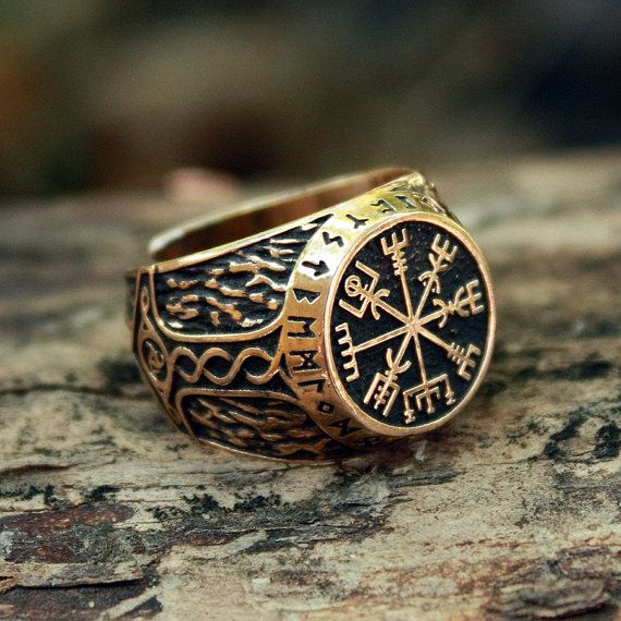 Bronze Vegvisir Futhark Runes Vikings Compass Magic Stave Nordic Amulet Adjustable Size Ring