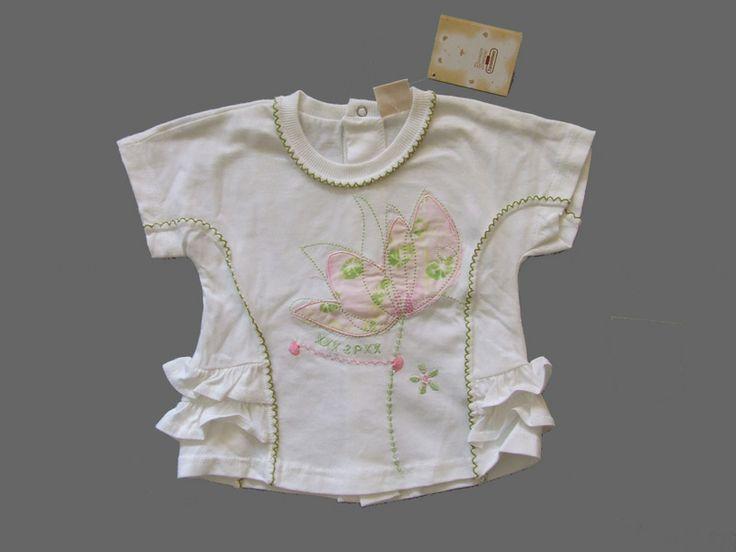 Ref. 900596- Camiseta MC- 3pommes- niña - Talla 3 meses - 7€ - pantalón a juego rosa/ verde lima -info@miihi.com - Tel. 651121480