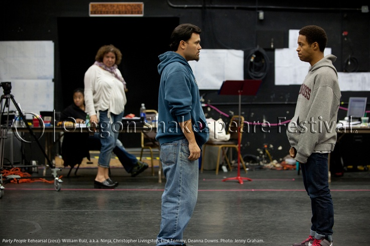 Oregon Shakespeare Festival. PARTY PEOPLE Rehearsal (2012): William Ruiz, a.k.a. Ninja, Christopher Livingston, Liesl Tommy, Deanna Downs. Photo: Jenny Graham.
