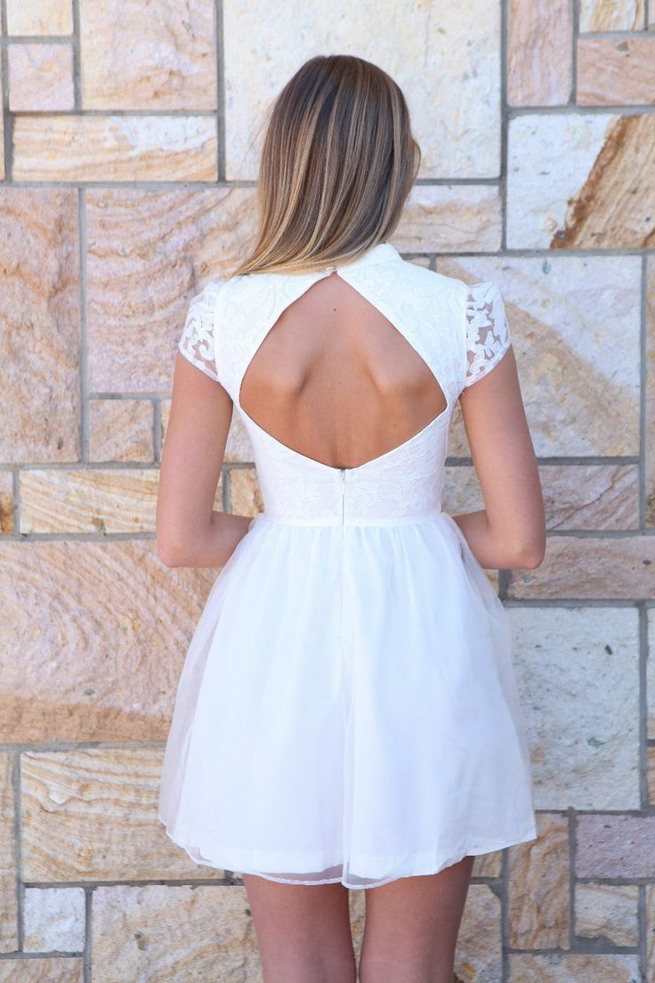 White Lace Dress #cutoutback #homecoming