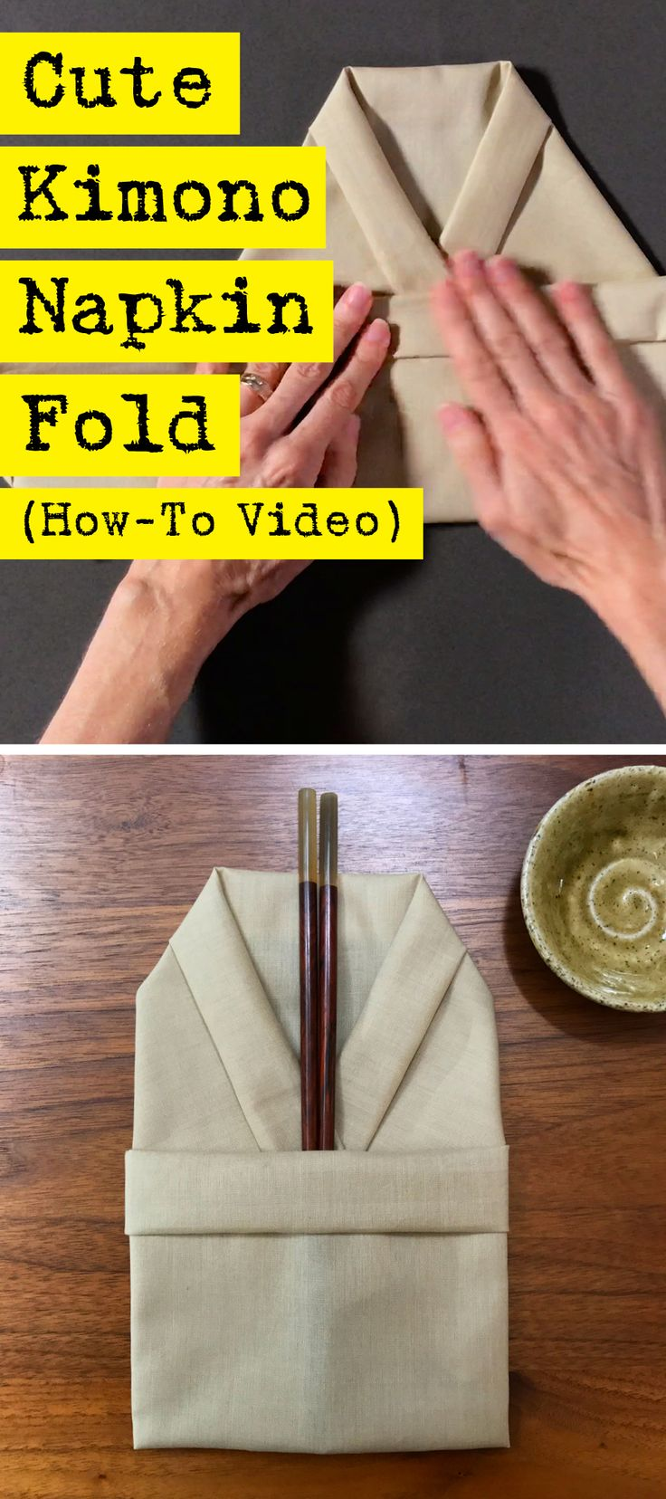 Adorable and easy napkin folding in the shape of a kimono. Perfect for your next sushi dinner party.