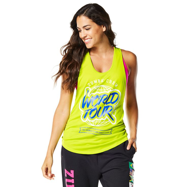 WORLD TOUR LOOSE TANK - ZUMBA GREEN ----------------------- Rep your favourite rhythms in the World Tour Loose Tank! This fan favourite features ultra soft and lightweight fabric that will keep you dancing on and on and on. Zumba Tank.
