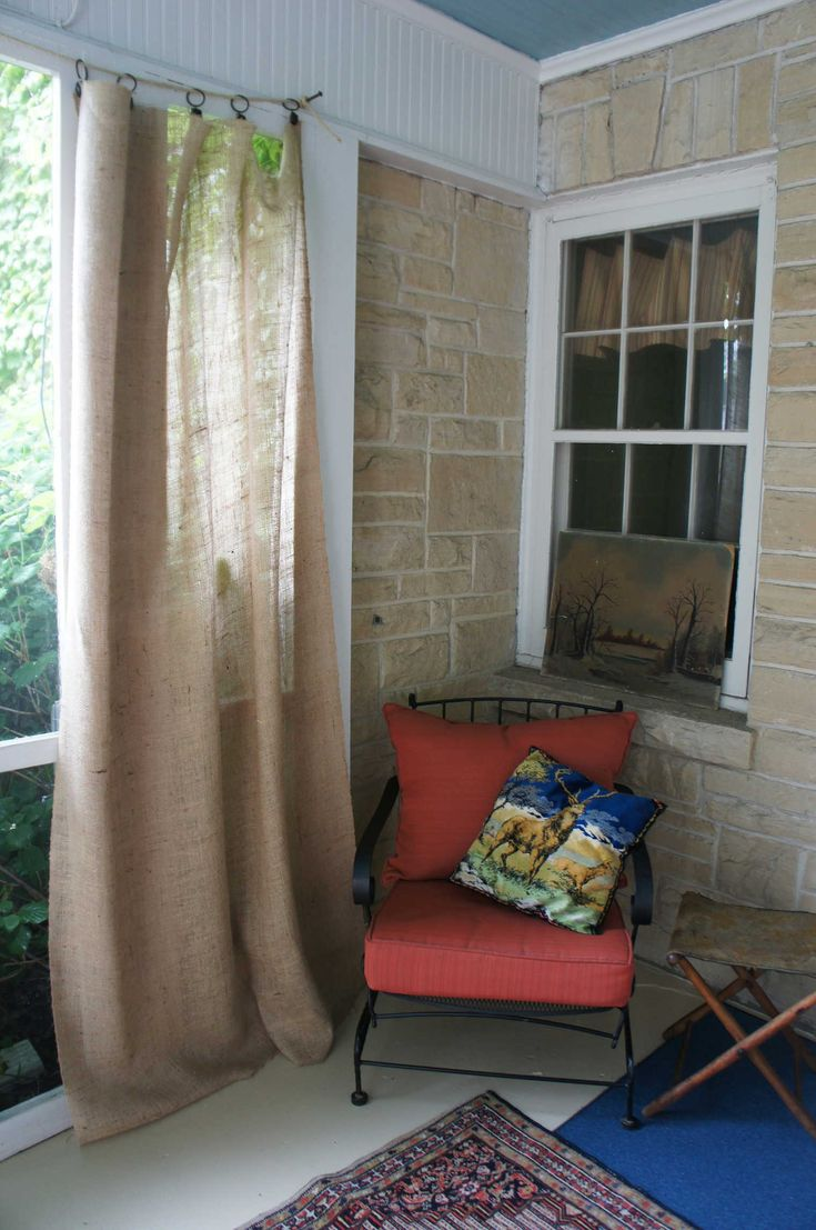 Burlap porch curtains. Could I do this on my front porch?