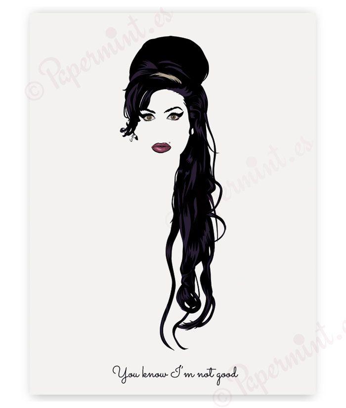 Póster Ilustración de Amy Winehouse. Personalizado con tu texto o frase. Lámina minimalista exclusiva de Papermint. Diseño propio. Envío desde 2,50