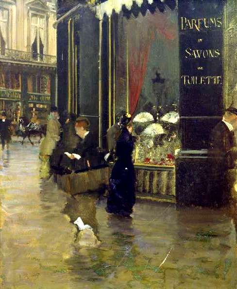 "mimbeau: 1880 Guiseppe de Nittis (Italian; 1846-84) ~Paris - La Parfumerie Violet DOESN'T THIS JUST PUT YOU IN A ""MORNING SHOPPING EXPERIENCE"" IN PARIS..........ccp"