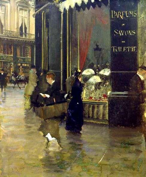 mimbeau: 1880 Guiseppe de Nittis (Italian; 1846-84) ~Paris - La Parfumerie Violet