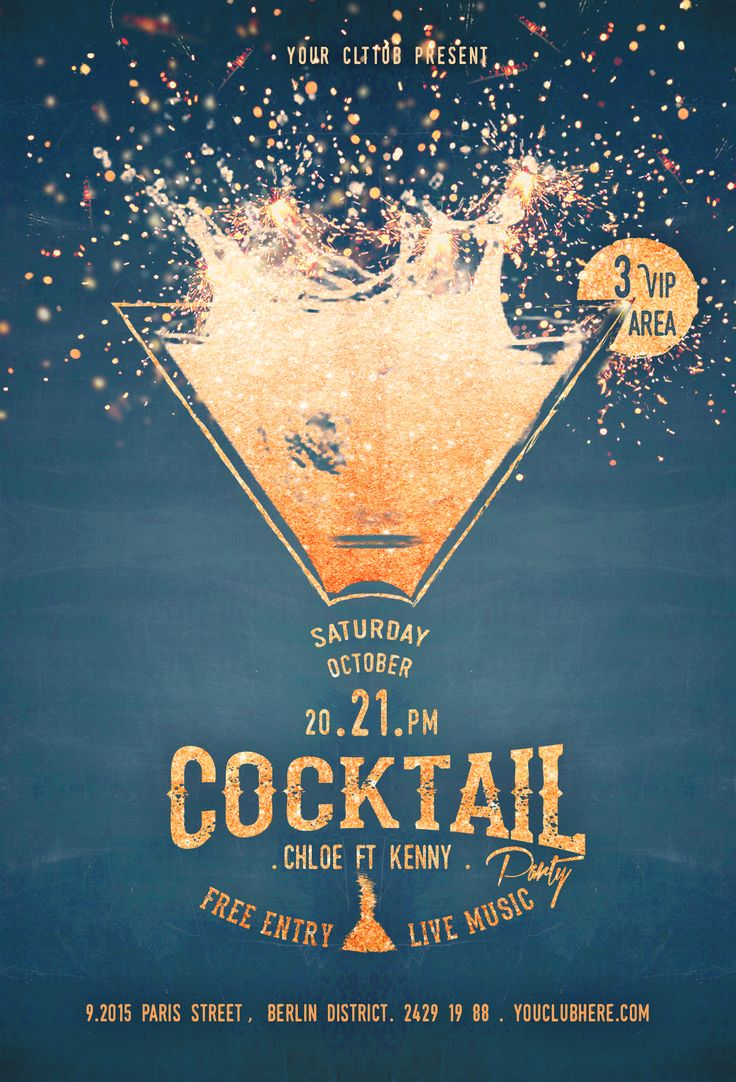 Cocktail Party Flyer album, bar, club, copper, dark blue, dj, glitter, goblet, golden, ladies, lady, light, menu, music, night, party, sparkle, sparkling, turquoise, wine, yellow