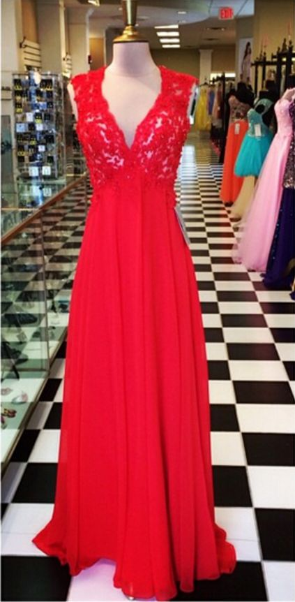 Open Back Long Red Chiffon Prom Dress with