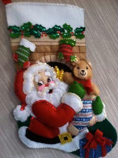 Stocking Stuffer Completed Handmade Felt Christmas Stocking from Bucilla Kit by GrandmasStitchings on Etsy