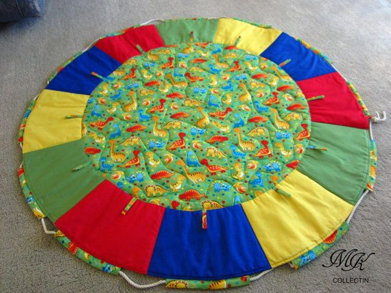 Multi-coloured Quilted Baby play mat and toy by MKcollectionMK