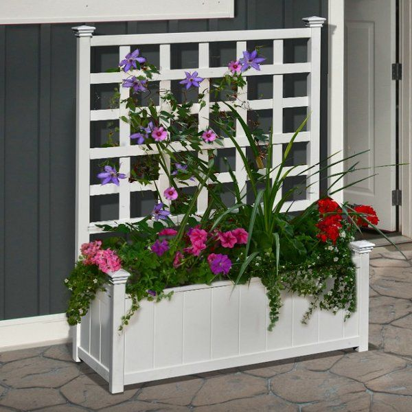 Huron Plastic Planter Box With Trellis Planter Box With Trellis Plastic Planter Boxes Planter Boxes