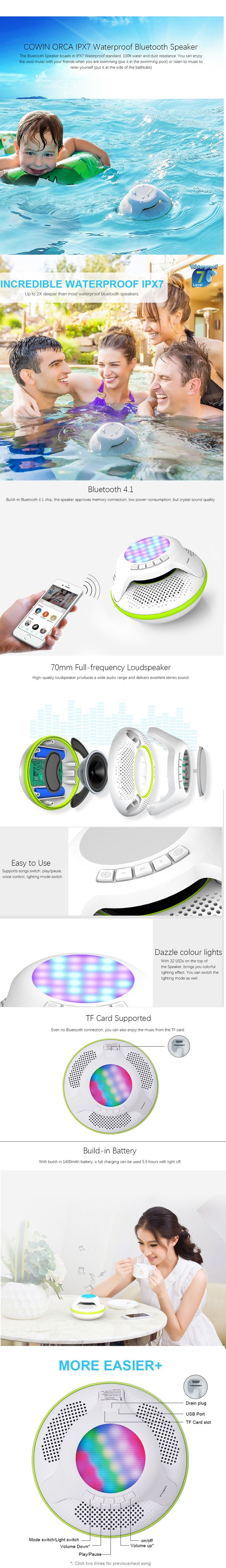Provides you with super high-quality music and call experience with Cowin IPX7 Bluetooth Speaker.