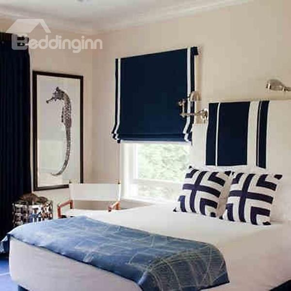 Mediterranean Dark Blue Polyester Cotton Flat-Shaped #Roman #Shades