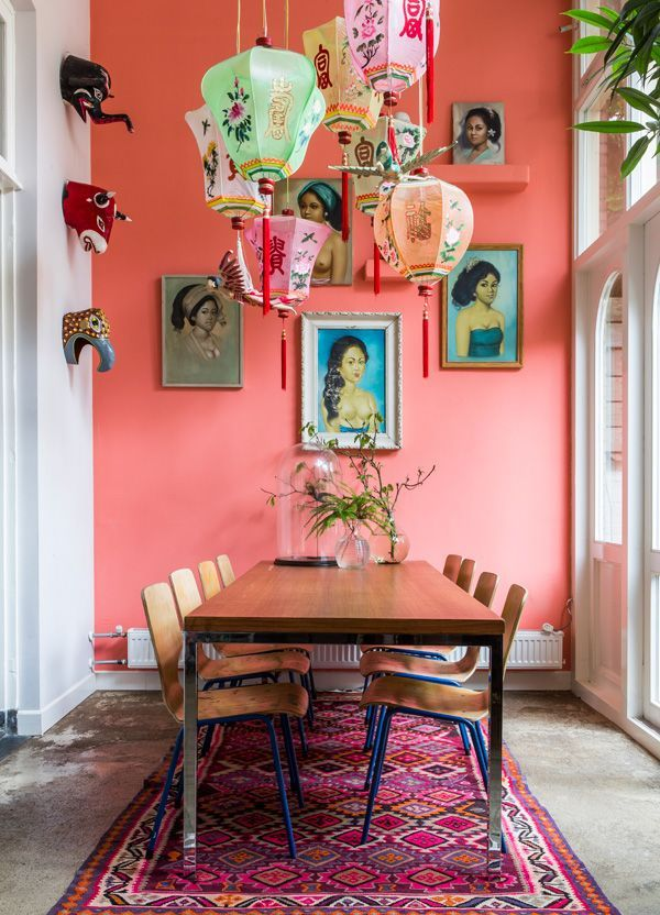 Bohemian Interior: Coral Pink Statement Wall + Lanterns #johnnywas