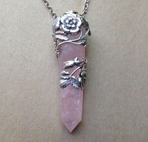 Floral Wrap Rose Quartz Necklace « Evil Pawn Jewelry