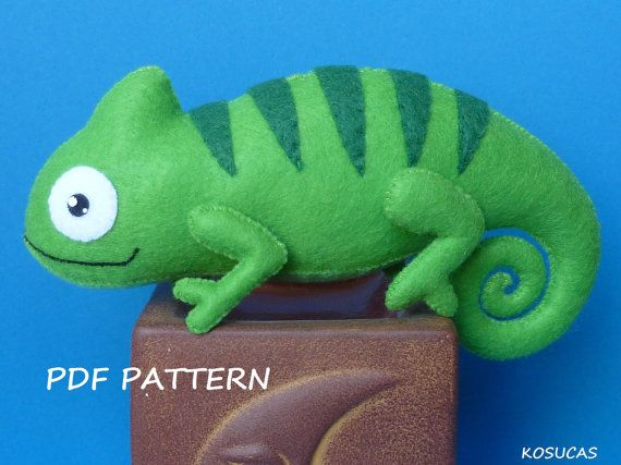 PDF sewing pattern to make a felt chameleon by Kosucas on Etsy
