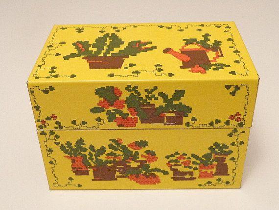 Yellow Recipe Tin Box   Southwestern Themed Graphics   Syndicate Mfg. Co   Retro Home Decor   Kitchen Office Storage   Mid-Century Vintage