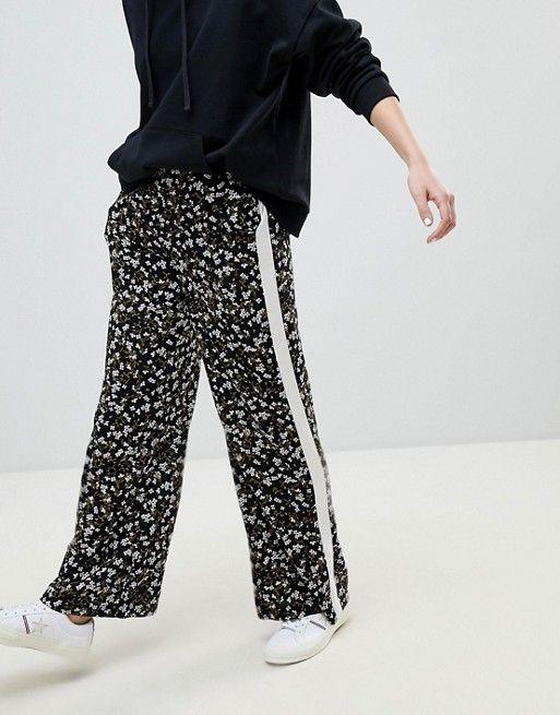 New Look | New Look Floral Stripe Wide Leg Trouser