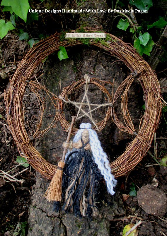 Handmade Vine Triple Moon Witches Wreath With Handmade Witch Doll