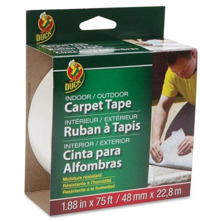 Indoor/Outdoor Carpet Tape, 1-7.8 inchx75', White DUC442062