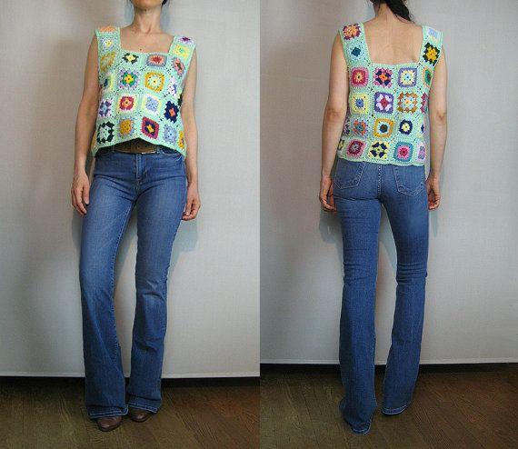 70s CROCHET GRANNY SQUARE Top Crochet Crop Top Hand Crochet
