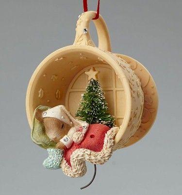Mouse Sleeping Ornament , Heart of Christmas Ornaments by Karen Hahn for Enesco at Fiddlesticks