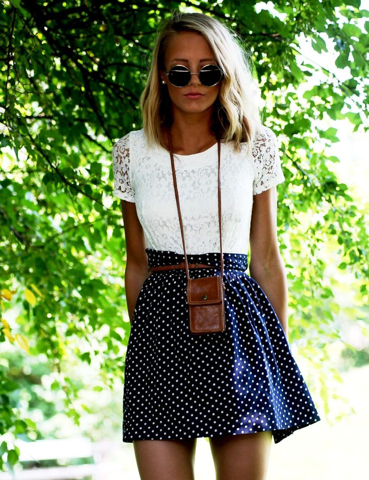 summer outfits womens fashion clothes style apparel clothing closet ideas.  white top blue skirt sunglasses