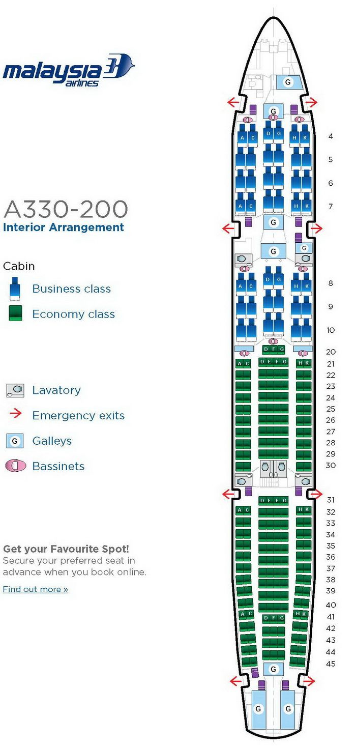 Malaysia A380 Seat Map MALAYSIA AIRLINES AIRBUS A330 200 AIRCRAFT SEATING CHART | airplane
