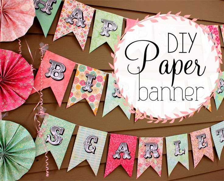 DIY Scrapbook Paper Banner Sign for birthday and holiday party! Easy cheap party decoration - SohoSonnet Creative Living