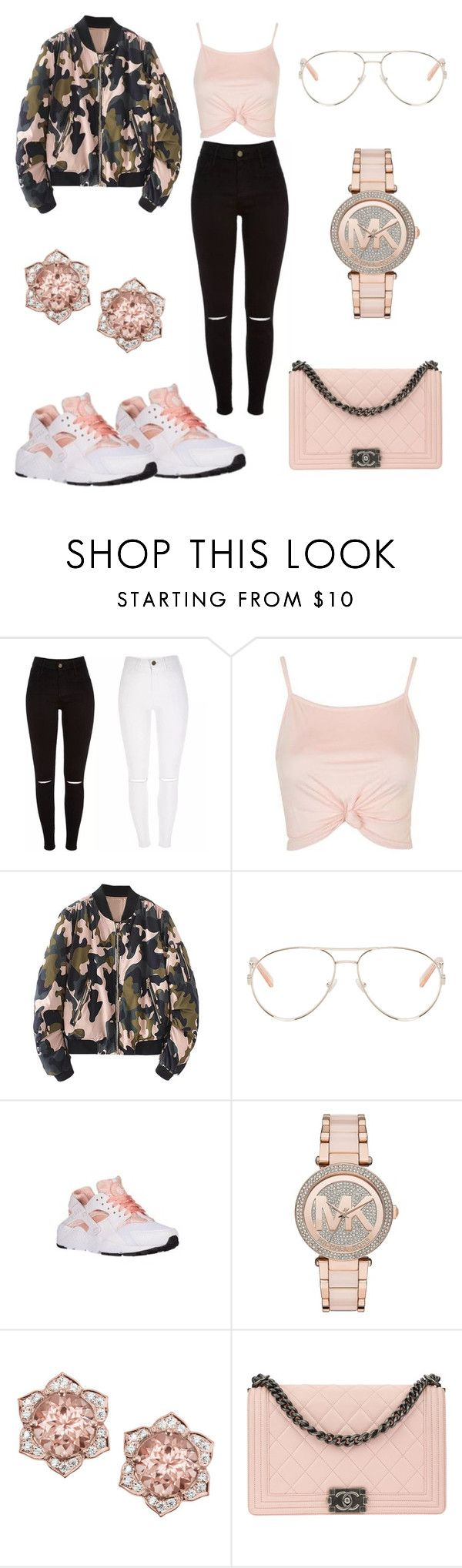 """""""Untitled #1090"""" by jwolley ❤ liked on Polyvore featuring Topshop, WithChic, Chloé, NIKE, Michael Kors and Chanel"""