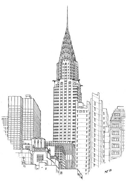 the chrysler building drawn by the great matteo pericoli