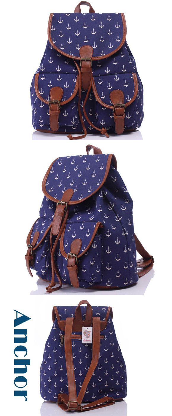 Leisure Navy Blue Anchor Rucksack Girl College Canvas Schoolbag Backpack only…