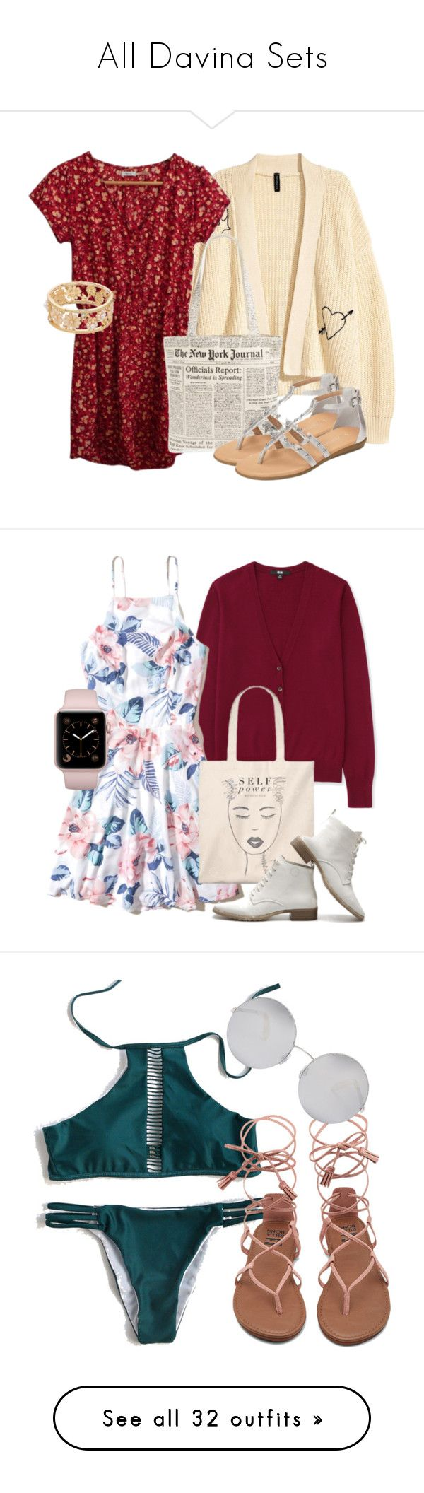 """""""All Davina Sets"""" by fangsandfashion ❤ liked on Polyvore featuring Urban Outfitters, Kate Spade, Aerosoles, Uniqlo, Hollister Co., WithChic, Victoria Beckham, New Look, Chicwish and BCBGeneration"""