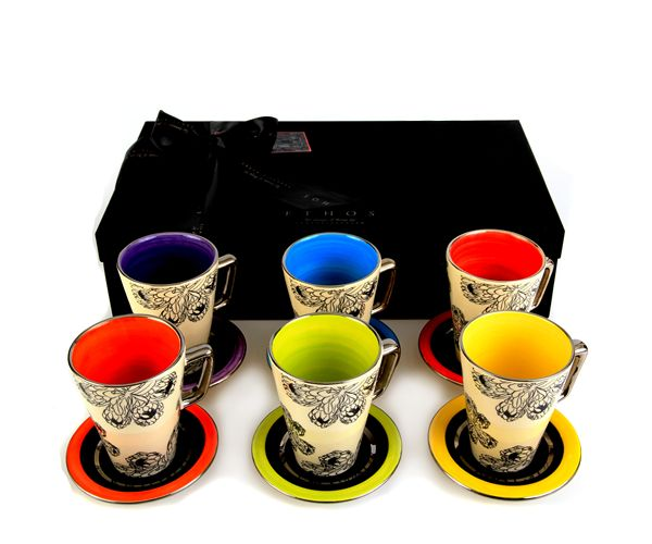 Protea Espresso Set - all 6 cups and saucers in 6 different colours with platinum detail - R1100 per set, available now at Essential Life! #colourful #espresso #coffee #gift