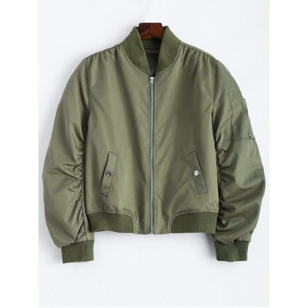 Pockets Bomber Jacket Army Green ($42) ❤ liked on Polyvore featuring outerwear, jackets, pocket jacket, bomber style jacket, green military jacket, olive green jacket and green jacket