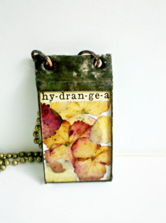 Hydrangea Pressed Flower Stained Glass Charm Pendant by Mystarrrs, $29.00
