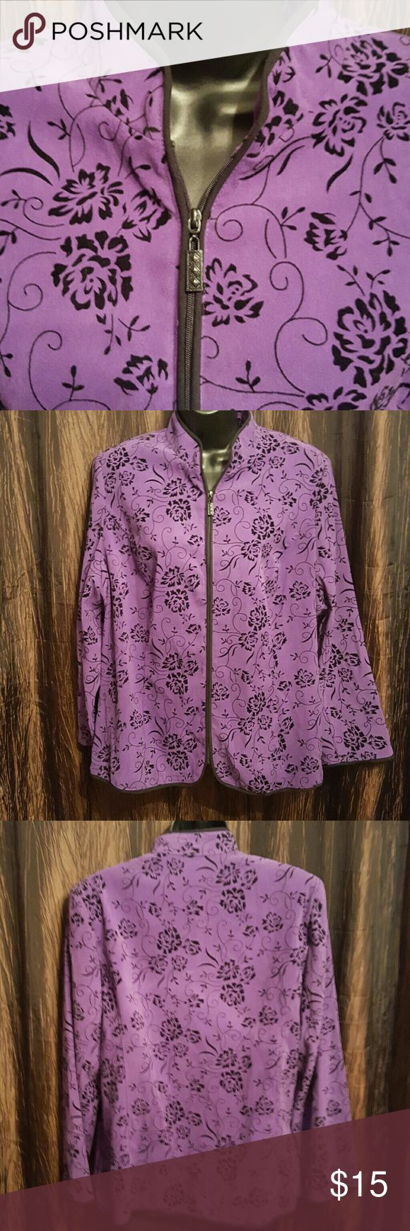 "Zip up Beautiful Purple & Black zip up Blazer/Jacket. 97% Polyester & 3% Spandex. Length 27"" Arms measures 23"" Bust measures up too 44 notations women Jackets & Coats Blazers"