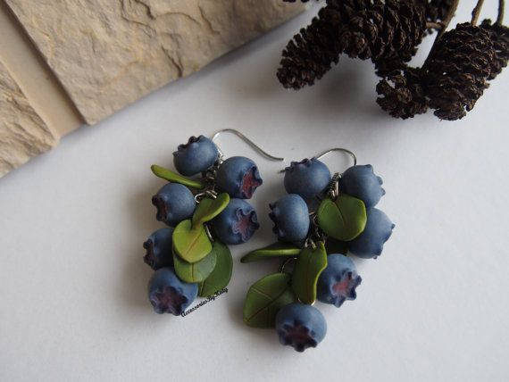 Blueberry earrings. Polymer clay blueberries. by AccessoriesByKaty