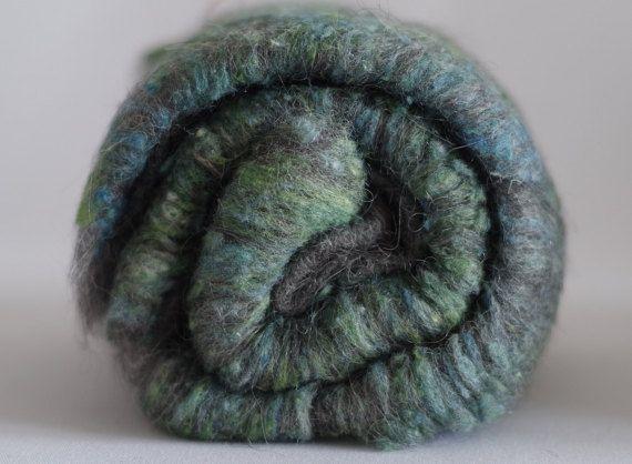 Art batts  grey gotland wool and handpainted silk wild by Fiberro