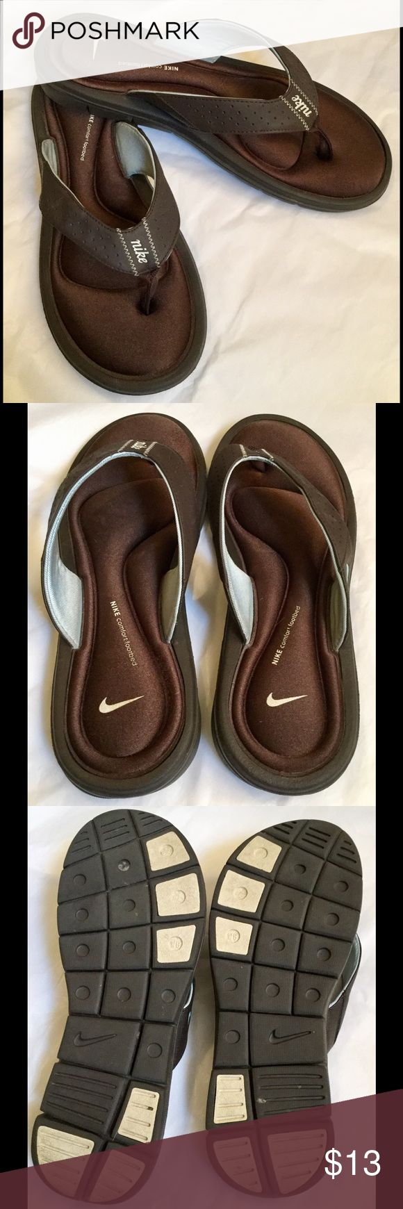 NIKE Comfort Thong Flip Flops W8 NIKE Comfort Thong Flip Flops Women's 8. Excellent, preowned condition. (See pics for few signs on dirt). The Comfort memory foam footbed is like new and a dream to walk in. Brown and powder blue. Thanks for looking ☺️ Nike Shoes Sandals